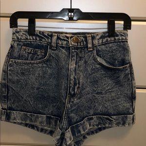 High waisted acid wash jean shorts